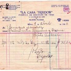 Facturas antiguas: FACTURA DE LA CASA TEJEDOR. FÁBRICA DE ADORNOS DE YESO. HABANA - CUBA. 1954.. Lote 43695473