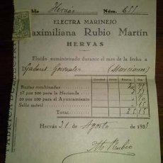 Facturas antiguas: ELECTRA MARINEJO MAXIMILIANA RUBIO MARTIN HERVAS CACERES 1935. Lote 43822600