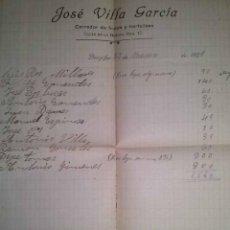 Facturas antiguas: BENIJOFAR JOSE VILLA CORREDOR DE FRUTAS Y HORTALIZAS ALICANTE 1921. Lote 43833646
