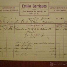 Factures anciennes: 1934 ALCIRA (VALENCIA). FACTURA DE EMILIO GARRIGUES, VENTA DE CERILLAS Y PAPEL DE FUMAR.. Lote 43870603