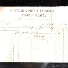 Facturas antiguas: FACTURA. SOCIEDAD VINICOLA ESPAÑOLA TORO Y SANZ. MADRID, 1869.. Lote 43956173