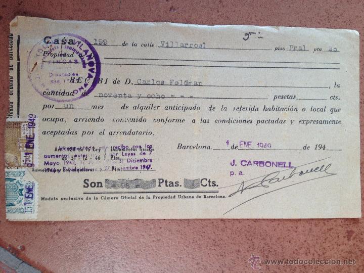 Antiguo recibo de alquiler barcelona calle vi comprar facturas antiguas en todocoleccion - Gastos vendedor vivienda segunda mano ...