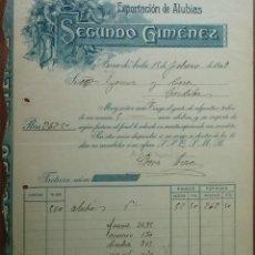 Facturas antiguas: PRECIOSA FACTURA - SEGUNDO GIMENEZ - BARCO DE AVILA (AVILA) 15-02-1909 - EXPORTACION DE ALUBIAS. Lote 44260502