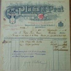 Facturas antiguas: PRECIOSA FACTURA - PLANS & PRAT - BARCELONA 22-11-1916. ALMACENISTAS DE TÉS Y PRODUCTOS ALIMENTICIOS. Lote 44273259