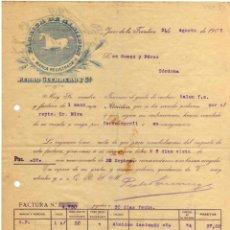 Facturas antiguas: BONITA FACTURA - PEDRO GUERRERO Y CIA. - JEREZ DE LA FRONTERA (CADIZ) 31-08-1909. FABRICA DE ALMIDON. Lote 44273790