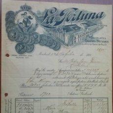 Faturas antigas: PRECIOSA FACTURA - LA FORTUNA - MADRID 12-10-16 - CHOCOLATES, GALLETAS Y BIZCOCHOS . Lote 44298154