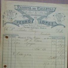 Faturas antigas: BONITA FACTURA - PEDRO LOPEZ - MADRID 24-01-1916 - FABRICA DE GALLETAS - PASTAS FINAS PARA POSTRES. Lote 44300420