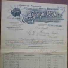 Facturas antiguas: PRECIOSA FACTURA - ANTONIO RIVIERE - MADRID 17-08-1905 - APARATOS MODERNOS PARA LA MOLINERIA. Lote 44300578