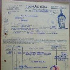 Faturas antigas: BONITA FACTURA - COMPAÑIA MATA - UNION DE BODEGAS ANDALUZAS - MALAGA 26-11-1953. Lote 44300785