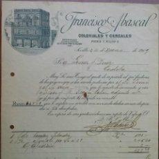 Facturas antiguas: PRECIOSA FACTURA - FRANCISCO ABASCAL - SEVILLA 24-MARZO-1909 - COLONIALES Y CEREALES. Lote 44306406