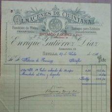 Facturas antiguas: PRECIOSA FACTURA - ENRIQUE GUTIERREZ DIAZ - BAYARDO Y GOMEZ - SEVILLA 27-07-1911 - FERRETERIA . Lote 44306487
