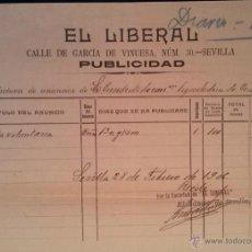Facturas antiguas: INTERESANTE FACTURA - EL LIBERAL - DIARIO - SEVILLA 28-FEBRERO-1906. Lote 44306701