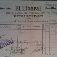 Facturas antiguas: INTERESANTE FACTURA - EL LIBERAL - DIARIO - SEVILLA 9-MARZO-1906. Lote 44306729