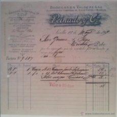 Facturas antiguas: BONITA FACTURA - PEINADO Y CIA. - SEVILLA 15.MAYO.1909 - BODEGAS EN VALDEPEÑAS - VINOS, AGUARDIENTES. Lote 44309008