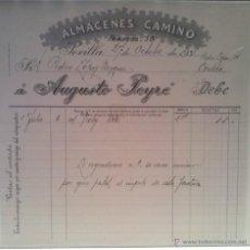 Facturas antiguas: BONITA FACTURA - ALMACENES CAMINO - AUGUSTO PEYRE - SEVILLA 27.OCTUBRE.1931 . Lote 44309025
