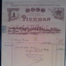 Facturas antiguas: MAGNIFICA FACTURA - PICKMAN - SEVILLA 13.DICIEMBRE.1927 - FABRICA DE LOZA EN LA CARTUJA DE SEVILLA. Lote 44309032