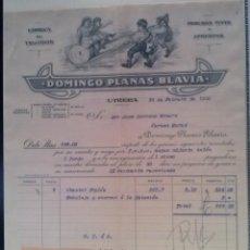 Facturas antiguas: PRECIOSA FACTURA - DOMINGO PLANAS BLAVIA - UTRERA (SEVILLA) - 26.FEBRERO.1932 - FABRICA DE TEJIDOS. Lote 44311915