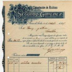 Facturas antiguas: PRECIOSA FACTURA - SEGUNDO GIMENEZ - EXPORTACION DE ALUBIAS - BARCO DE AVILA - 12.OCTUBRE.1909. Lote 44312115