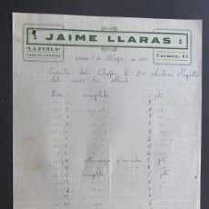 Fatture antiche: FACTURA / CASA DE COMIDAS LA PERLA / JAIME LLARAS / LLEIDA 1930 / LERIDA. Lote 44648975