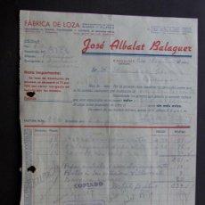 Fatture antiche: FACTURA / FABRICA DE LOZA / JOSE ALBALAT BALAGUER / RIBESALBES 1941 / CASTELLON. Lote 44649037