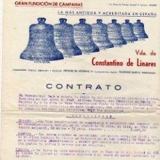 Facturas antiguas: GRAN FUNDICION DE CAMPANAS. VDA DE CONSTANTINO DE LINARES. MADRID. . Lote 44703497