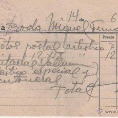 Facturas antiguas: ANTIGUA FACTURA DE FOTOGRAFIA FRANCITORRA MANRESA AÑO 58. Lote 44749644