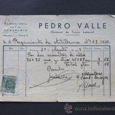 Facturas antiguas: FACTURA / FUNERARIA PEDRO VALLE / BARBASTRO 1943 / BARBASTRO. Lote 44813296