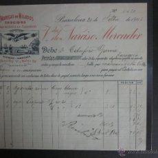 Facturas antiguas: FACTURA HILADOS NARCISO MERCADER - BARCELONA - AÑO 1903 - (FAC-56). Lote 45688986
