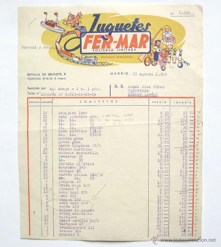 BONITA FACTURA FABRICA DE JUGUETES FER-MAR. MADRID 1959 (Coleccionismo - Documentos - Facturas Antiguas)