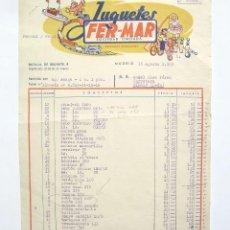 Facturas antiguas: BONITA FACTURA FABRICA DE JUGUETES FER-MAR. MADRID 1959. Lote 45760023