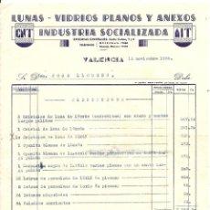 Facturas antiguas: GUERRA CIVIL. VALENCIA. EMPRESA COLECTIVIZADA. 1938. CNT AIT. Lote 57869302