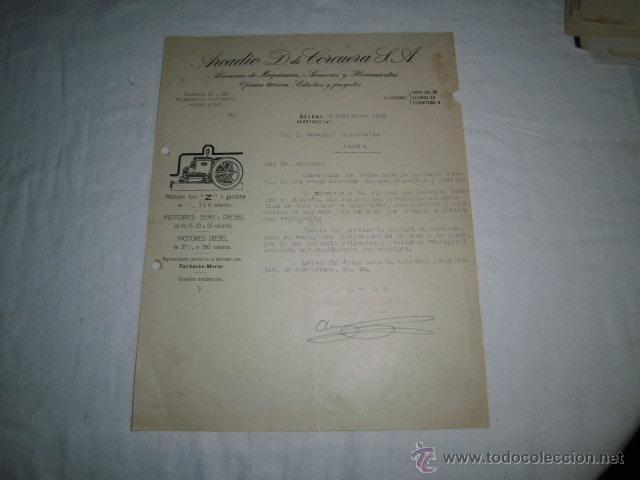ANTIGUA FACTURA ARCADIO D.DE CORCUERA S.A. ALMACEN DE MAQUINARIA BILBAO 1925 (Coleccionismo - Documentos - Facturas Antiguas)