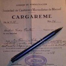 Facturas antiguas: MACAEL CONSEJO DE ADMINISTRACION DE LA SOCIEDAD DE CANTEROS Y MARMOLISTAS 1938 ALMERIA GUERRA CIVIL. Lote 46514963