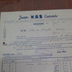 Facturas antiguas: ANTIGUA FACTURA CARTA COMERCIAL MAS CUEVAS MUÑECAS MOGENTE VALENCIA . Lote 46542268