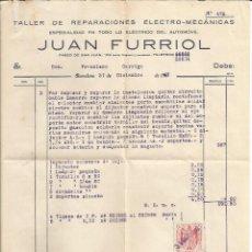 Facturas antiguas: FACTURA TALLER DE REPARACIONES ELECTRO - MECANICAS JUAN FURRIOL - BARCELONA 1931. Lote 46566333