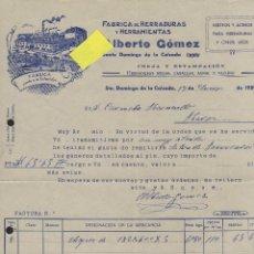 Fatture antiche: FACTURA HERRADURAS HERRAMIENTAS GOMEZ SANTO DOMINGO CALZADA LOGROÑO RIOJA GANADO VACUNO CABALLO ASNO. Lote 46640544