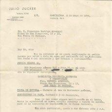 Facturas antiguas: FACTURA JULIO ZUCKER - SAN FELIU DE CODINAS - BARCELONA 1934. Lote 46893996