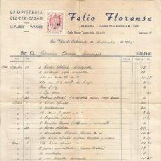 Facturas antiguas: FACTURA LAMPISTERIA ELECTRICIDAD FELIO FLORENSA - SAN FELIU DE CODINAS 1945 - SELLO ESPAÑA CORREOS. Lote 46894324