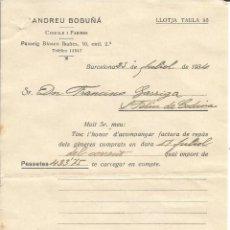 Alte Rechnungen - FACTURA RECIBO ANDREU BOGUÑA - BARCELONA AÑO 1934 - 46894426