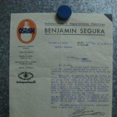 Facturas antiguas: LAMPARAS OSRAM, INSTALACIONES ELECTRICAS BENJAMIN SEGURA, ALCOY, 14 AGOSTO 1939 AÑO DE LA VICTORIA. Lote 46906959
