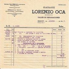 Facturas antiguas: FACTURA - GARAJE DE BICICLETAS - LORENZO OCA - BILBAO 1947. Lote 46962724