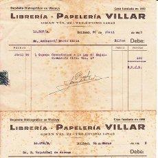 Facturas antiguas: FACTURAS LIBRERÍA PAPELERÍA VILLAR - BILBAO 1943. Lote 46964097