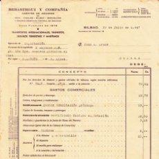 Facturas antiguas: FACTURA AGENTES DE ADUANAS BERASTEGUI Y COMPAÑÍA - BILBAO 1947. Lote 46964301