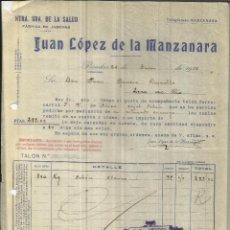 Faturas antigas: FACTURA DE JUAN LÓPEZ DE LA MANZANARA. NTRA. SRA. DE LA SALUD. JABONES. POSADAS. CÓRDOBA. 1936. Lote 47150565