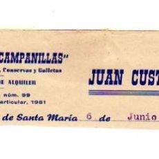 Facturas antiguas: MEMBRETE DE FACTURA. JUAN CUSTODIO RIVAS. ULTRAMARINOS LAS CAMPANILLAS. PUERTO DE SANTA MARÍA.. Lote 277693418