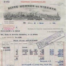 Facturas antiguas: FACTURA. ALTOS HORNOS DE VIZCAYA, S.A. HIERROS COMERCIALES. BILBAO, 30 DE MARZO DE 1943.. Lote 47720230