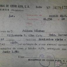 Facturas antiguas: RECIBO COMPRA MAQUINA COSER. Lote 47903383