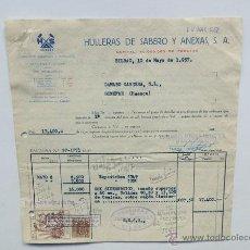 Fatture antiche: FACTURA / HULLERAS DE SABERO Y ANEXAS / COK Y CARBONES / BILBAO 1957 / . Lote 47923985