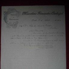 Facturas antiguas: ANTIGUA FACTURA MARCELINO FERNANDEZ CARBAJAL OVIEDO 1906. Lote 47956316