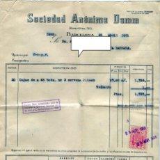 Facturas antiguas: DAMM S.A. ANTIGUA FACTURA DE SUMINISTRO + EL CORRESPONDIENTE RECIBO DE PAGO SELLOS AÑO 1951. Lote 48132409